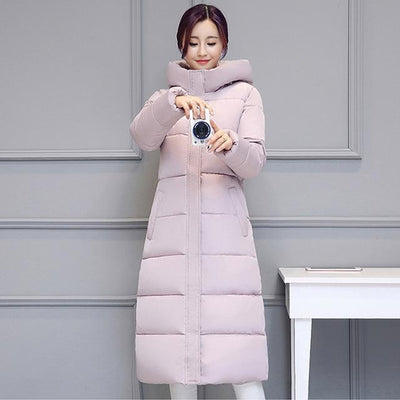 Outlet Appeal PINK / M High quality 2018 stand collar coat women winter long hooded with a hat warm thicken womens jacket solid padded female parka