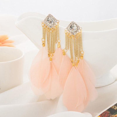 Outlet Appeal Pink / one-size Bohemian Handmade Vintage Feather Rhinestone Long Drop Earrings Dangle BU
