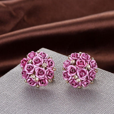 Outlet Appeal Pink / one-size Fashion Jewelry Bohemia Flower Rhinestone  Earrings For Women Summer Style A