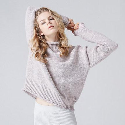 Outlet Appeal Casual Turtleneck Solid Color Pullover Sweater