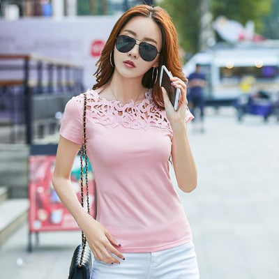 Outlet Appeal Pink / S Lace Hollow Out Female T-shirt Slim Shirt Casual Ladies Tops Tees