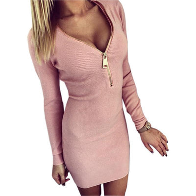 Outlet Appeal Pink / S Zipper V-neck Knitted Dress Long Sleeve Slim Sheath Dress - 4 Colors