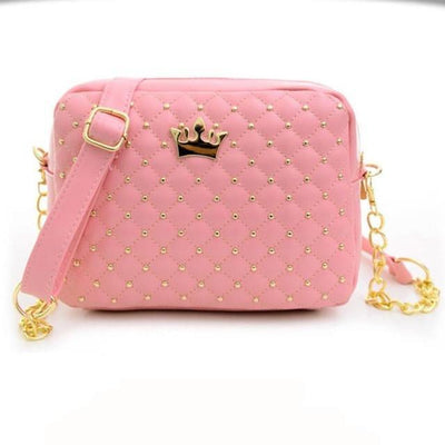 Outlet Appeal Pink Women bag Solid Candy Colors Ladies Rivet Chain Leather Crossbody Quilted CrownWomen's Messenger