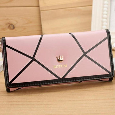 Outlet Appeal Pink Women's Luxury Faux Leather Long Wallet Clutch Purse