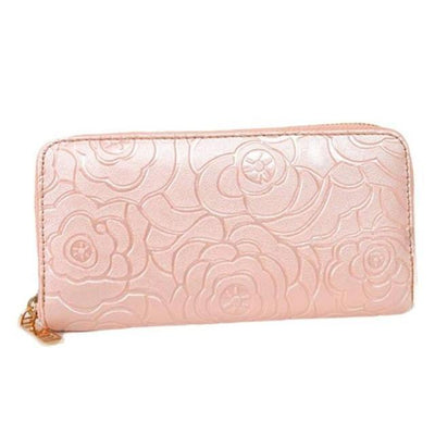 Outlet Appeal Pink Women's Rose Embossed Long Wallet Business Zipper Faux Leather Clutch Wallet