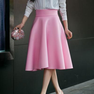 Outlet Appeal Pink / XS Skirt High Waisted Skirts Womens White Knee Length Bottoms Pleated Skirt XS-5XL Pink Black Red Blue