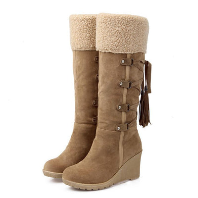 Outlet Appeal Plush Snow Boots Women Wedges Knee-high Slip-resistant Boots ThermalCotton-padded Winter