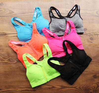 Outlet Appeal Professional Level Shockproof 4-Way Stretch Sports Bra with Zipper and Adjustable Straps
