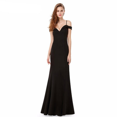Outlet Appeal Prom Dresses V-neck Women's Elegant Off-the-shoulder Sleeveless Long Party Dresses Ever Pretty