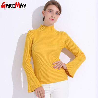 Outlet Appeal Pullover Sweater Women Turtleneck Knitted Tops Female Knitwear Flare Sleeve Pull Jersey