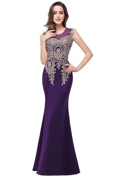Outlet Appeal Purple / 2 Lace Mermaid Prom Dresses Long Embroidery Evening Party Dress