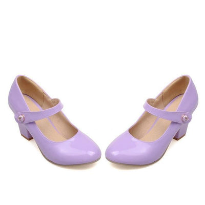 Outlet Appeal Purple / 6 Mary Janes Thick High Heel Round Toe Pumps