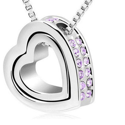 Outlet Appeal Purple / one-size Fashion Double Heart Crystal Rhinestone Eternal Love Silver Necklace PK