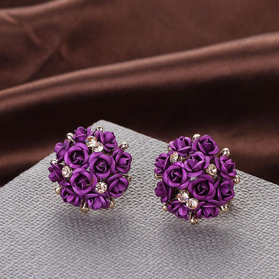 Outlet Appeal Purple / one-size Fashion Jewelry Bohemia Flower Rhinestone  Earrings For Women Summer Style A