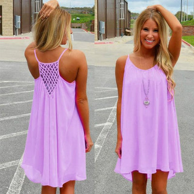 Outlet Appeal Purple / S Fluorescent and Matte Color Chiffon Beach Dress - 8 Colors - Small-XXL
