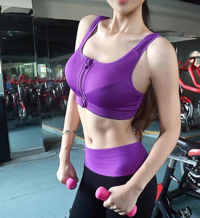 Outlet Appeal Purple / S Professional Level Shockproof 4-Way Stretch Sports Bra with Zipper and Adjustable Straps