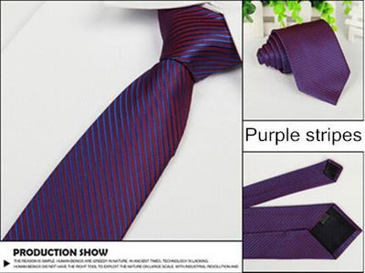 Outlet Appeal Purple stripes Solid 8cm slim ties men necktie Fashion Man Accessories For Party Business Formal lot