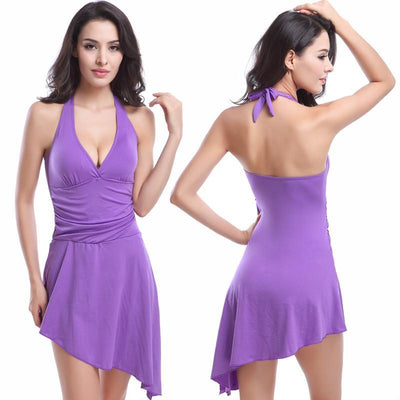 Outlet Appeal Purple / XL One Piece Swim Dress Sexy Push Up Swimdress Paded Swimsuit Swimwear