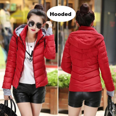 Outlet Appeal Red 1 / M Winter Jacket Women's Plus Size Womens Parkas Thicken Outerwear solid hooded Coats Short Female Slim Cotton padded basic tops