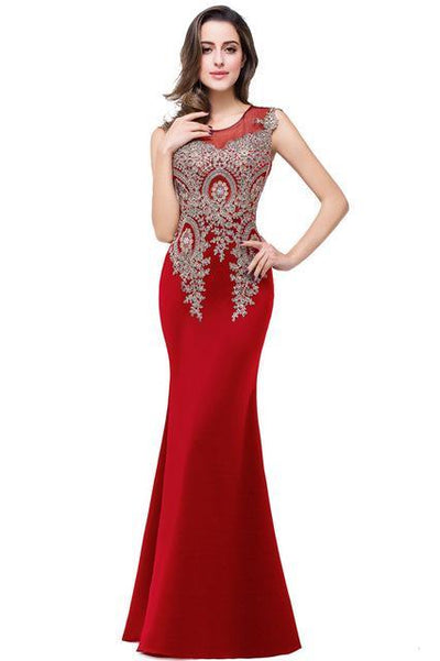 Outlet Appeal red / 2 Lace Mermaid Prom Dresses Long Embroidery Evening Party Dress