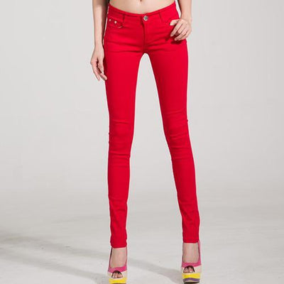 Outlet Appeal Red / 25 Denim Pants Candy Color Womens Jeans Stretch Bottoms Skinny Pants For Women Trousers