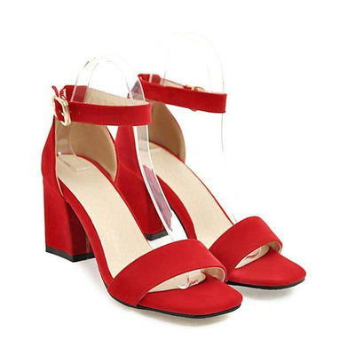 Outlet Appeal Red / 4 Ankle Wrap Chunky High Heel Shoes Sandals Black Beige Red