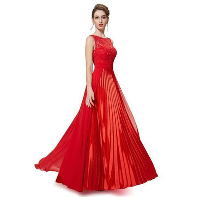 Outlet Appeal Red / 4 / China Evening Dresses Gorgeous Formal Round Neck Lace Long Sexy Red Women Party