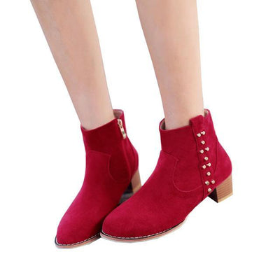 Outlet Appeal red / 5 HEE GRAND Women Ankle Boots Heels Suede Flock Rivet Gladiator Round toe Size 35-43 XWX6235