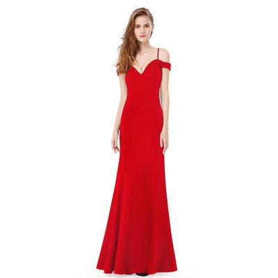 Outlet Appeal Red / 6 / China Prom Dresses V-neck Women's Elegant Off-the-shoulder Sleeveless Long Party Dresses Ever Pretty