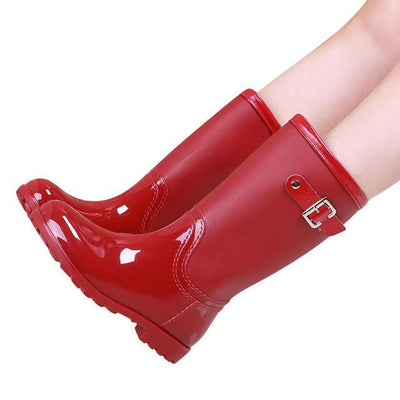 Outlet Appeal red / 6 HEE GRAND Candy Color Rain Slip On Women Mid-Calf Rainboots Round Toe Rubber XWX3071