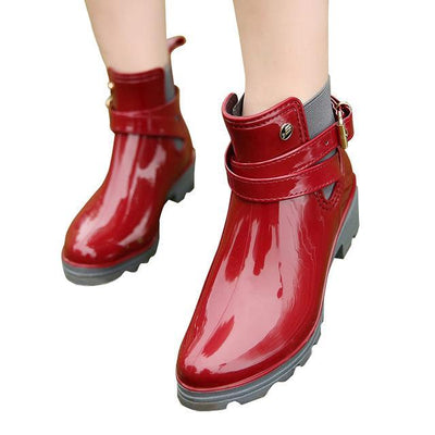 Outlet Appeal red / 6 HEE GRAND Rain Boots 2017 Women Ankle Boots Casual Rubber Creepers Slip On Flats XWX4505