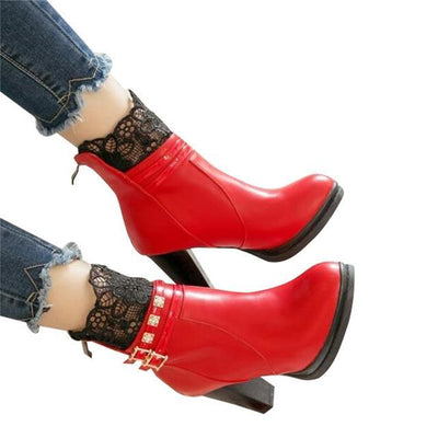 Outlet Appeal red / 6 HEE GRAND Women Boots Lace and Crystal Decoration High Heel with Zip Open size35-43 xwx5967