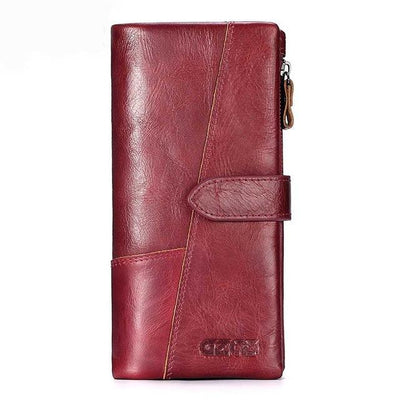 Outlet Appeal Red-L GZCZ Genuine Leather Women Wallet Lady Long Wallet Coin Purse Purse Clutch Handy