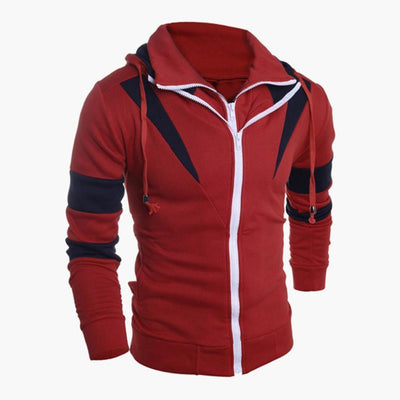 Outlet Appeal Red / L Men Retro Long Sleeve Hoodie Hooded Sweatshirt Tops Jacket Coat Outwear