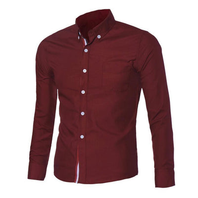 Outlet Appeal Red / L Navy Blue/Light Blue/White Mens Button Shirt Slim Fit Long Sleeve Men Shirts Social Shirt