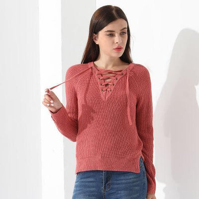 Outlet Appeal Red / L Sweater Women Pullover Long Sleeve Knitted Tops Women's Knitwear 2018 GAREMAY
