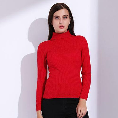 Outlet Appeal Red / L Turtleneck Pullover Women Knitted Sweaters Thin Pullover Long Sleeve Knitwear GAREMAY