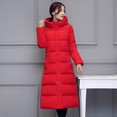 Outlet Appeal RED / M High quality 2018 stand collar coat women winter long hooded with a hat warm thicken womens jacket solid padded female parka