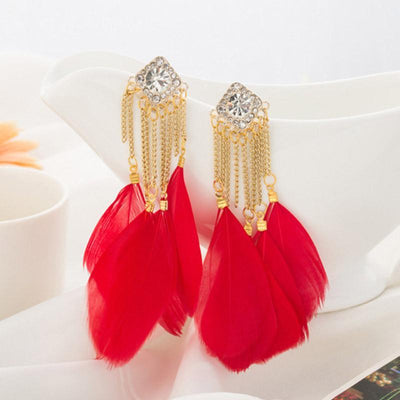 Outlet Appeal Red / one-size Bohemian Handmade Vintage Feather Rhinestone Long Drop Earrings Dangle BU