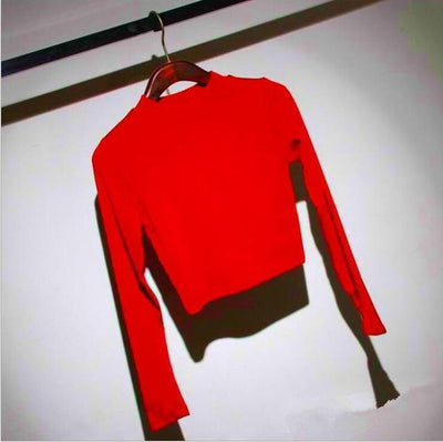 Outlet Appeal red / One Size Slim Soft Stretchy Full Sleeve Turtleneck Crop Top - 7 Colors