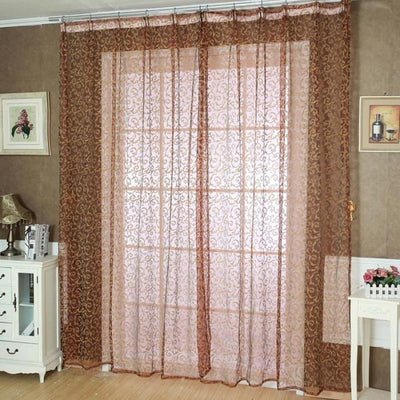 Outlet Appeal Red Pteris Window Screens Curtains Door Balcony Curtain Panel Sheer Size 200cm x 100 cm