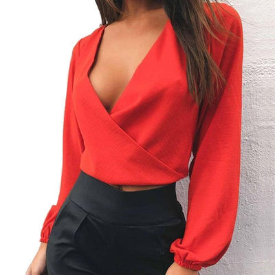 Outlet Appeal Red / S Full Sleeve V Neck Backless Tie Short Chiffon Blouse