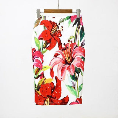 Outlet Appeal Red / S Slim Stretchy High Waist Floral Back-Split Midi Pencil Skirt