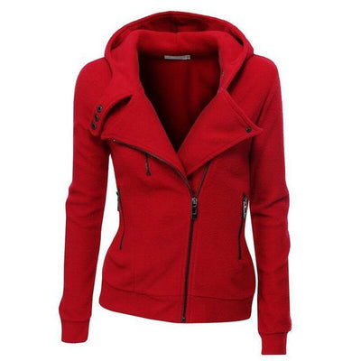 Outlet Appeal red / S Women's Slim Fit Long Sleeve Cotton Zipper Jacket Hoodie