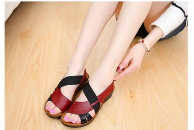 Outlet Appeal Red wine / 5 Soft Bottom Comfortable Leather Sandals