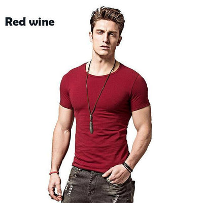 Outlet Appeal Red wine / Asian L Covrlge Men T-shirts Solid Color Slim Fit Short Sleeve T Shirt Mens O-neck Tops TShirt