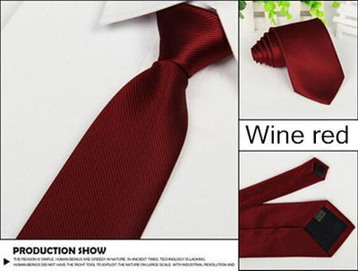 Outlet Appeal Red wine Solid 8cm slim ties men necktie Fashion Man Accessories For Party Business Formal lot