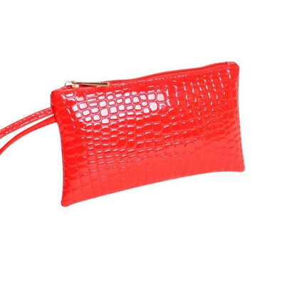 Outlet Appeal Red Women's Faux Crocodile Leather Clutch Coin Purse Wallet