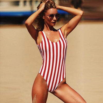 Outlet Appeal Red / XL Striped Retro Padded High Cut One Piece Monokini Swimsuit