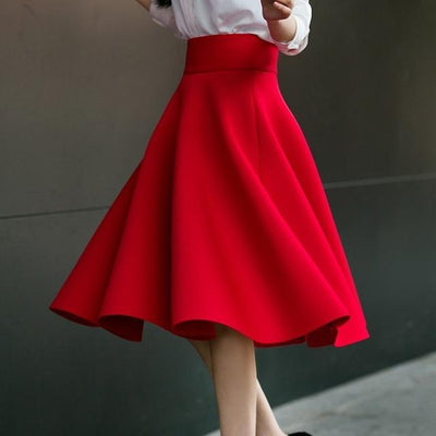 Outlet Appeal Red / XS Skirt High Waisted Skirts Womens White Knee Length Bottoms Pleated Skirt XS-5XL Pink Black Red Blue